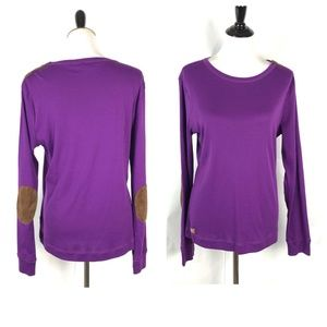 Ralph Lauren Purple Top Long Sleeve Elbow Patch